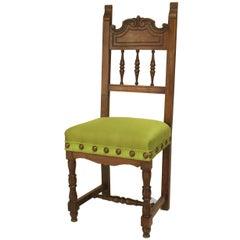 Turn of the Century Spanish Renaissance Style Walnut Side Chair