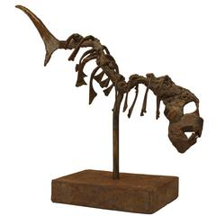 American Abstract Iron Fish Skeleton Sculpture