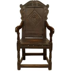 17th Century English Renaissance Wainscott Style Oak Armchair