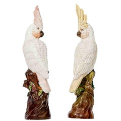 19th Century Ceramic Animalier Sculpture of a Pair of Cockatoos