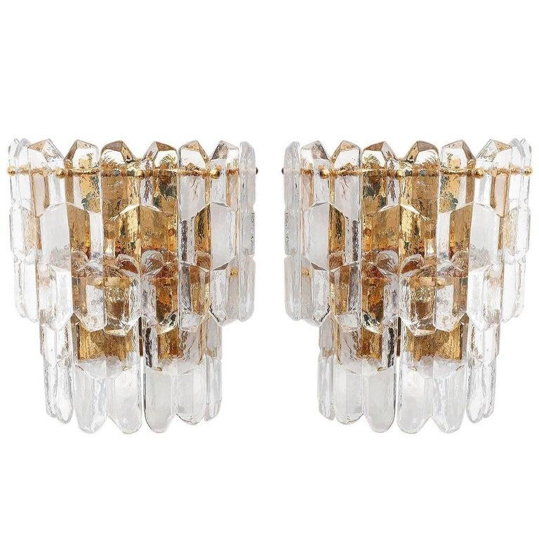 Kalmar Sconces, Gilt Brass Glass, 1970 For Sale