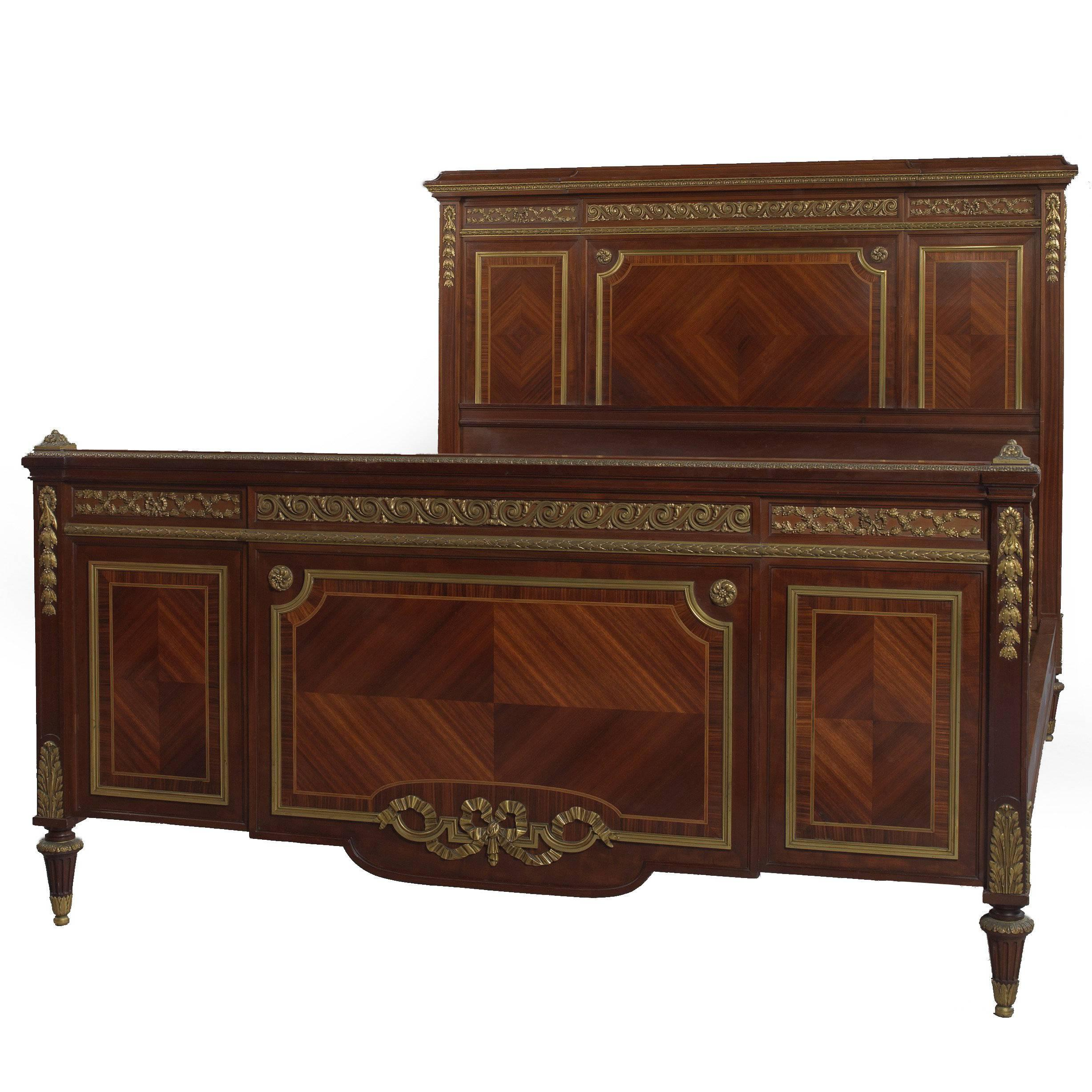Louis XVI Style Mahogany Double Bed by