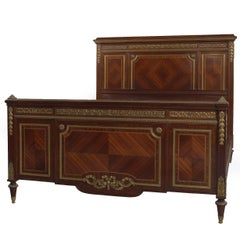Louis XVI Style Mahogany Double Bed by Fernand Kohl with Ormolu Mount