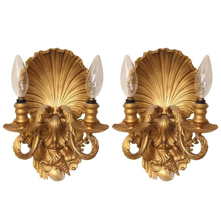 Pair of Two-Light Shell Back Sconces 1