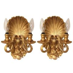 Pair of Two-Light Shell Back Sconces