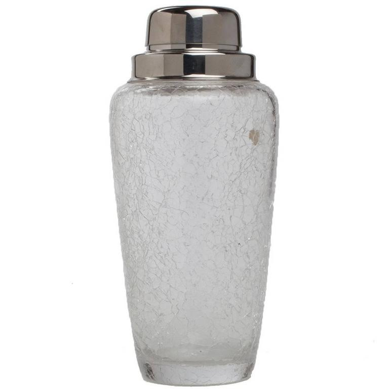 Crackle Glass Silver Plated Cocktail Shaker For Sale
