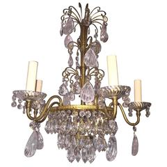 Gilt Bronze and Rock Crystal Chandelier