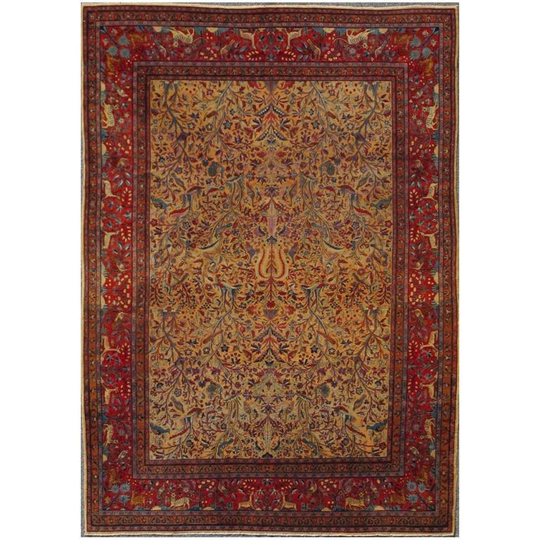 Antique Persian Kurk Kashan Rug
