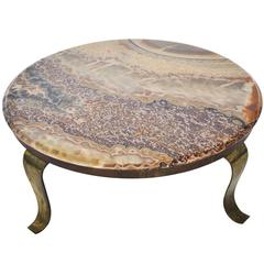 Muller Onyx and Brass Coffee Table