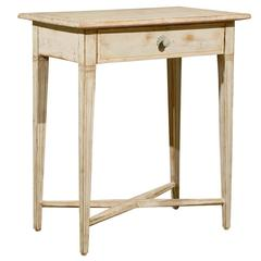 Swedish Neoclassical Style Painted Wood Side Table, circa 1880 with One Drawer
