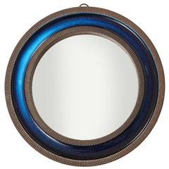 Knabstrup Ceramic Mirror Blue Signed Denmark 1960's