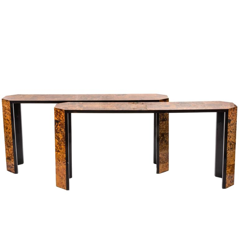 Great Pair of Faux Tortoise Shell Modernist Console Tables