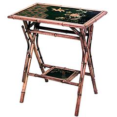 20th Century English Bamboo Cross Leg Table with Lacquered Top