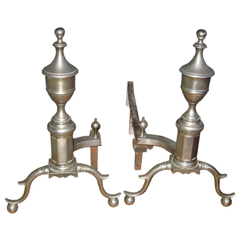 Pair of Nickel Plated Bronze Federal Style Andirons by Jackson