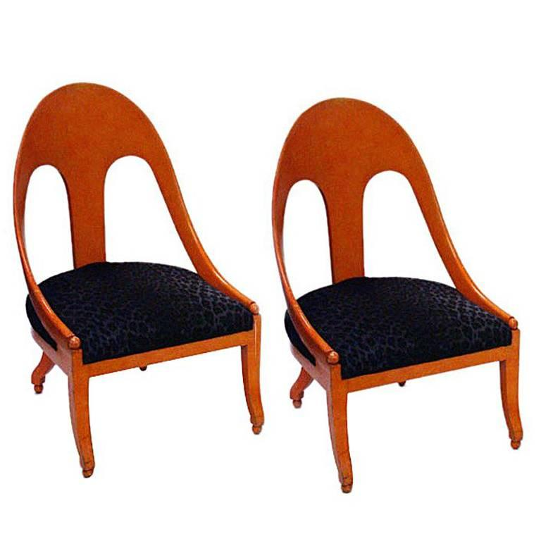 Pair of Neoclassic Spoonback Chairs by Michael Taylor for Baker