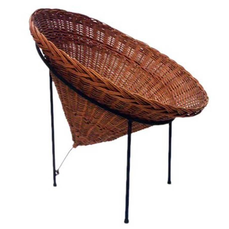 Gentil Sunflower Woven Wicker Cone Basket Lounge Chair By Roberto Mango For Tecno