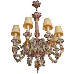 Capodimonte Porcelain Eight-Light Chandelier Italy