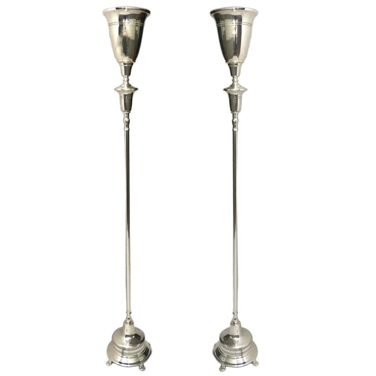Pair of Silver Plated Torcheres