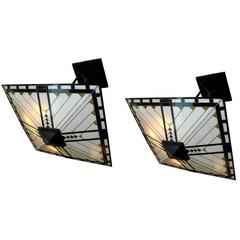 Pair of Art Deco Leaded Glass Light Fixtures