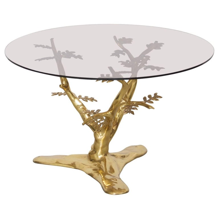 Brass Tree Sculpture Coffee Table with Round Glass Top For Sale