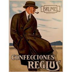 Swiss Art Deco Period Advertising Poster for Regius Men's Clothing, 1927