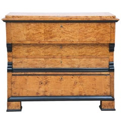 Swedish Karl Johan Biedermeier Chest of Drawers with Pull Out Secretary in Birch