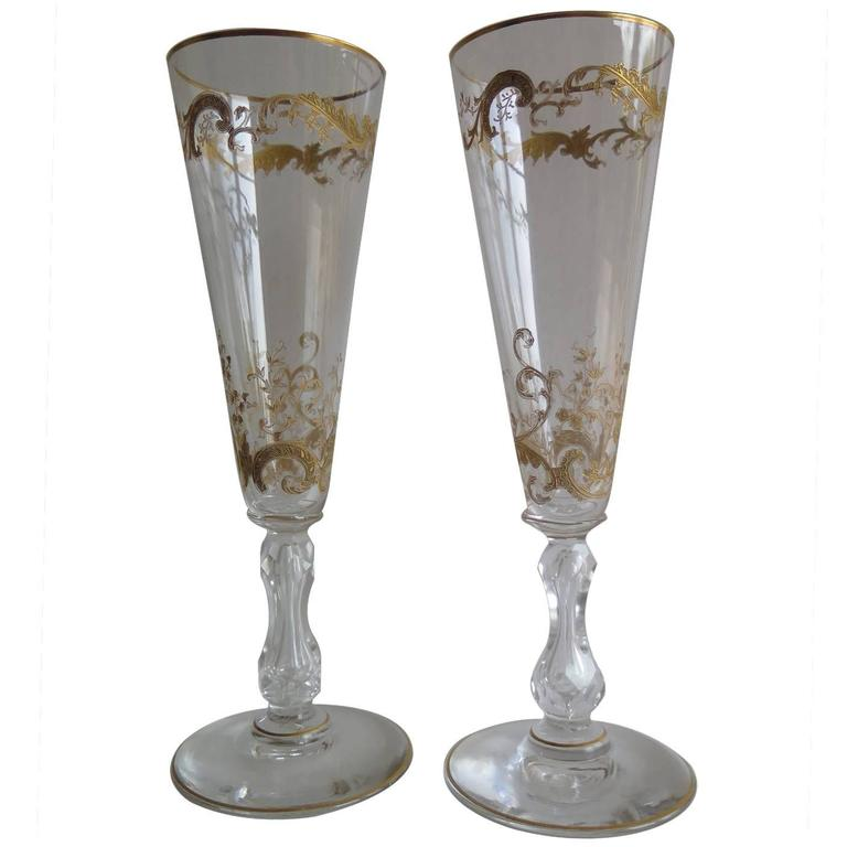 19th Century Pair of Gilded Champagne Flutes or Wine Glasses, French circa 1880