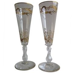19th Century Pair of Gilded Champagne Flutes or Wine Glasses, French, circa 1880