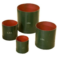 Set of Four Green and Red Vintage Belgian Measures, circa 1930