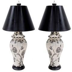 Pair of Black and White Ceramic Lamps