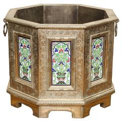 Indian Repousse Octagonal Planter with Hand-Painted Polychrome Enamels