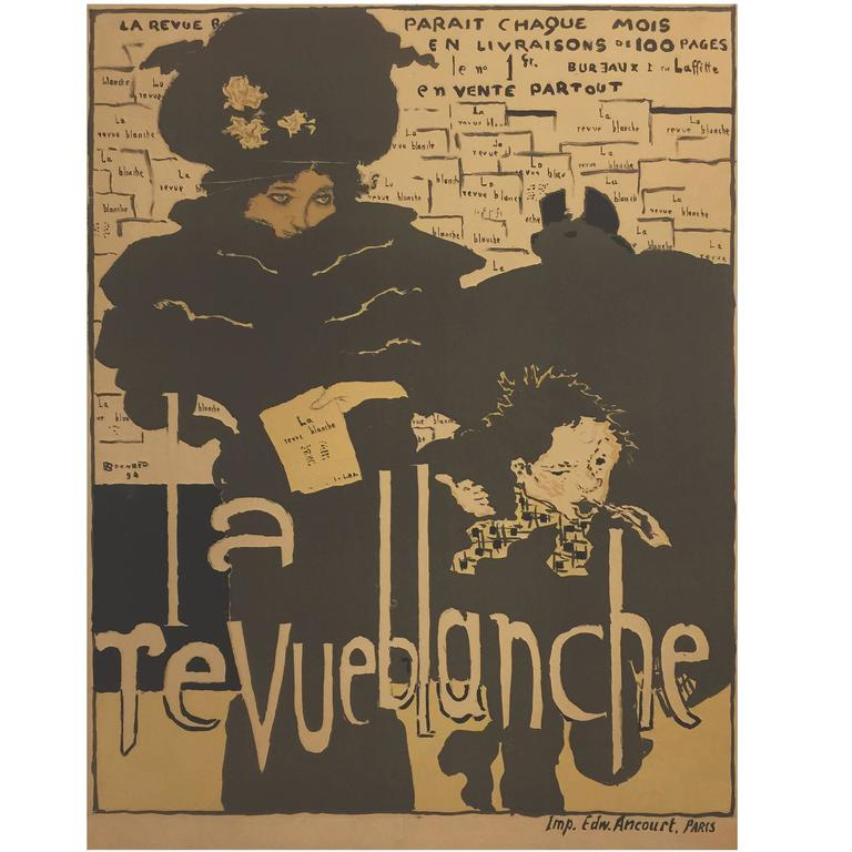 French Art Nouveau Period Poster for La Revue Blanche by Pierre Bonnard, 1894