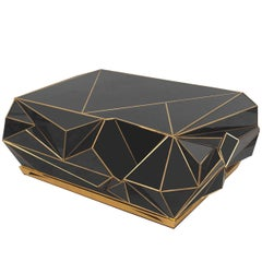 Contemporary Brass-Trimmed Glass Geometric Coffee Table