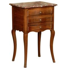 French Serpentine Front Marble Top Petite Commode from the Late 19th Century