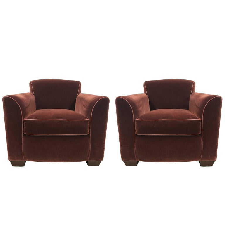 Pair of Art Deco Style Mohair Velvet Lounge Chairs Style of Jean Michel Frank