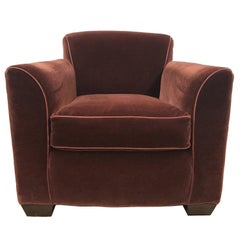 Art Deco Style Mohair Velvet Lounge Chair Style of Jean Michel Frank
