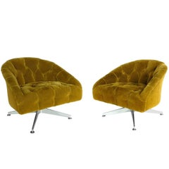 Pair of Ward Bennet Aluminum Base Button-Tufted Swivel Chairs