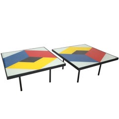Pair of 1960s Reverse Painted Glass Coffee Tables