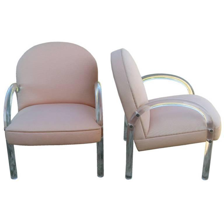 Pace Collection Pair of Lucite Lounge Chairs