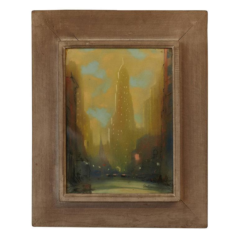"1930s Leon Louis Dolice ""New York Street Scene"" Pastel"