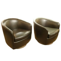 Pair of Barrel Back Swivel Tilt Lounge Chairs by Milo Baughman