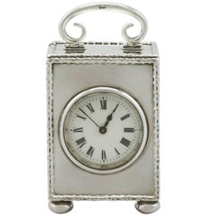 Antique Sterling Silver Boudoir Clock, 1912
