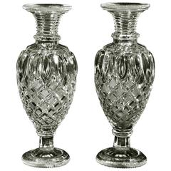 Pair of Clear Cut-Glass French Vases in the Restoration Taste