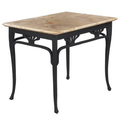 Art Nouveau Bentwood Painted Table with Onyx Top by Thonet, 1900s