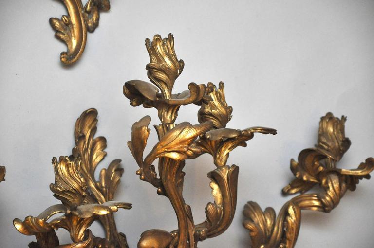 Rococo Set of Four Monumental Gilt Bronze Five-Light Candelabra Sconces, Paris, 1860 For Sale