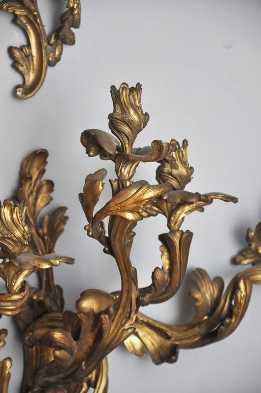 French Set of Four Monumental Gilt Bronze Five-Light Candelabra Sconces, Paris, 1860 For Sale