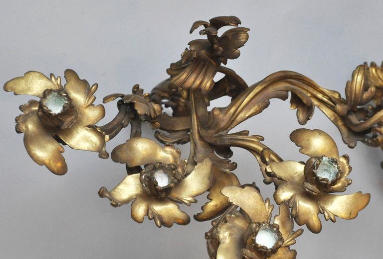 Set of Four Monumental Gilt Bronze Five-Light Candelabra Sconces, Paris, 1860 For Sale 1