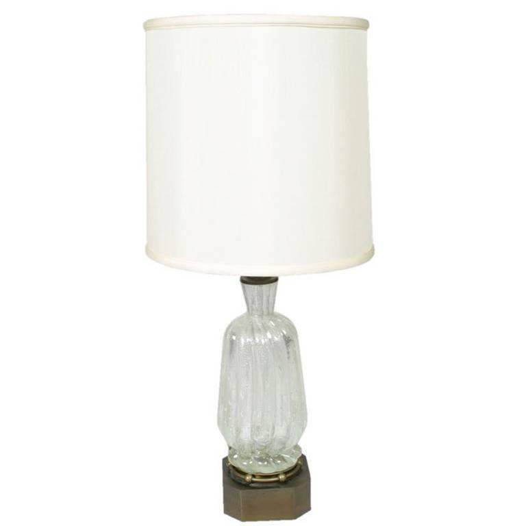 Barovier Glass Lamp with Silver Inclusions For Sale