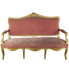 French Louis XV Style Gilt Settee in Faded Salmon Velvet