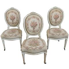 Set of Three French 19th Century Louis XVI Style Side Chairs
